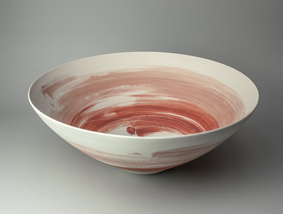 Large, rounded bowl. Two soft pinks.