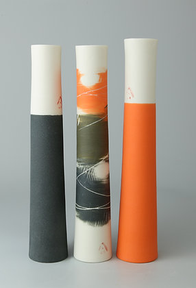 Set of three stem vases. Orange & charcoal
