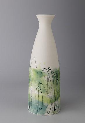 Fluted cylinder vase. Monoprint