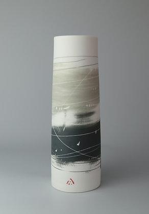 Cylinder vase. Olive & black