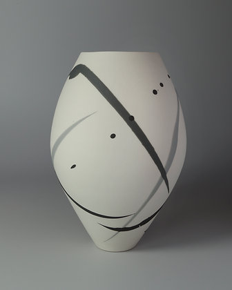 Oval vase. Grey & black splash