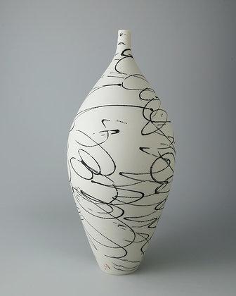 Tall bottle vase. Black scribble