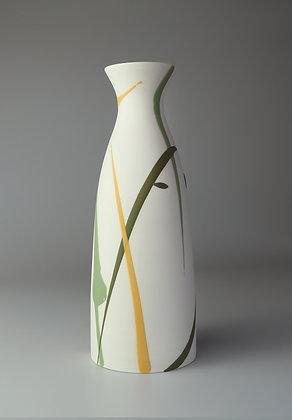 Fluted cylinder vase. Green & yellow splash