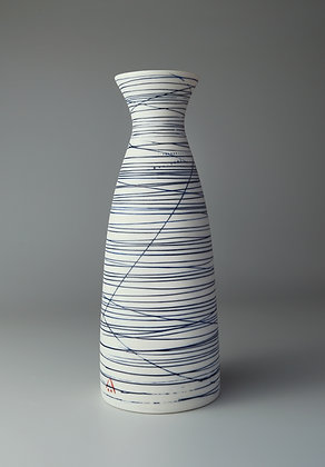 Narrow necked cylinder vase. Blue lines