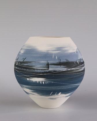 Spherical vase. Blue lscape