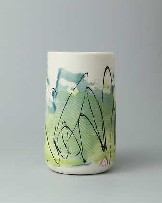 Tall cup. Monoprint teal