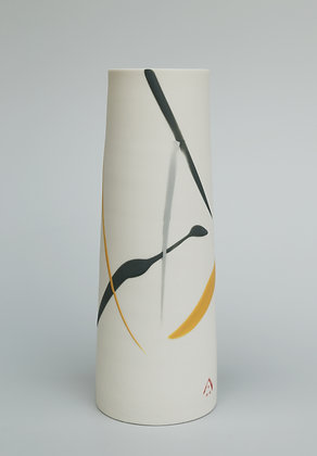 Cylinder vase. Yellow & grey splash