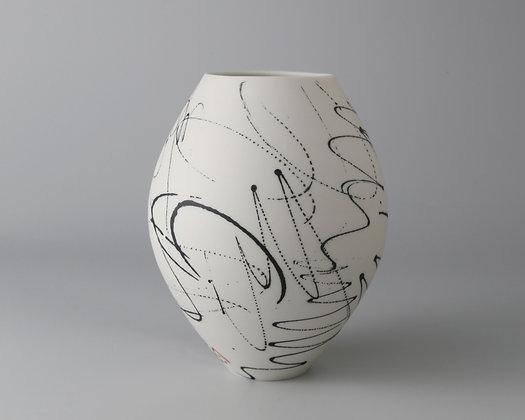 Small round pot. Black scribble