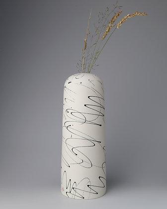 Domed vase. Black scribbles