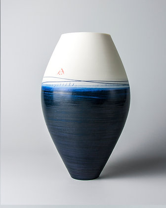 Oval vase. indigo
