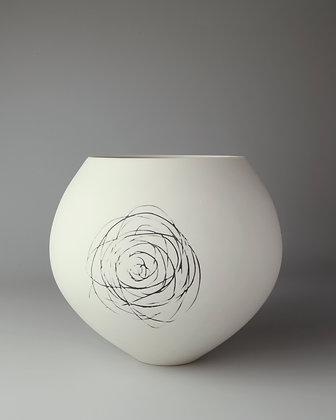 Spherical vase. Spiral scribble