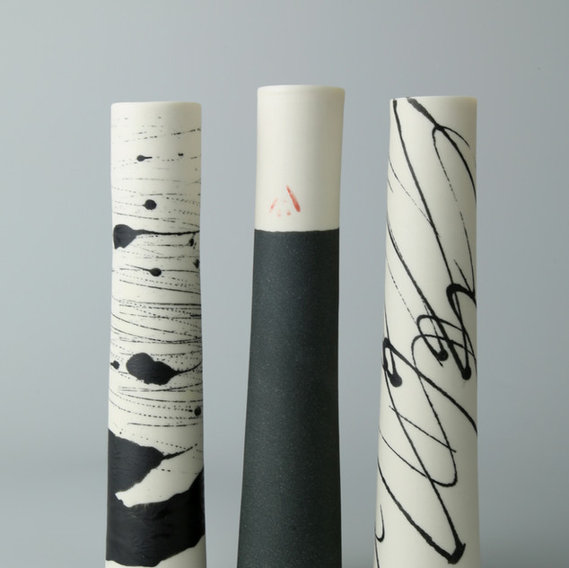 Set of three stems vases. Birch, Charcoal and scrib