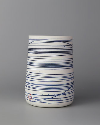 Tall cup. Blue lines