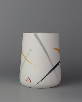 Tall cup. Yellow & grey splash