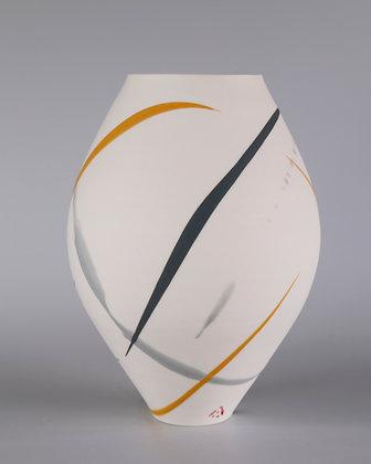 Oval vase. Yellow and grey splash