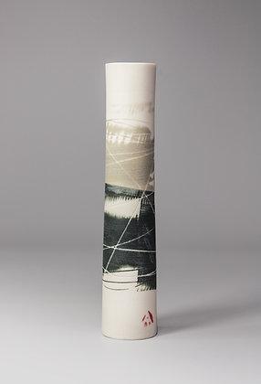 Stem vase. Olive & black