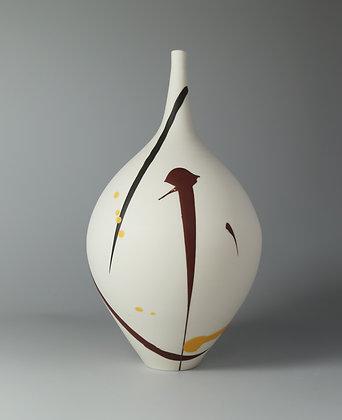 Teardrop vase. Burgundy & yellow splash