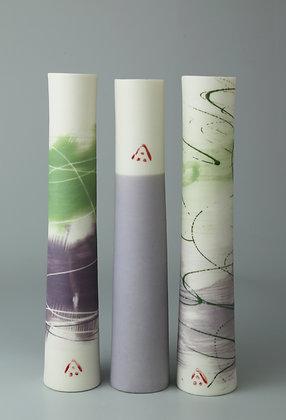 Set of three stem vases. Lilac & green