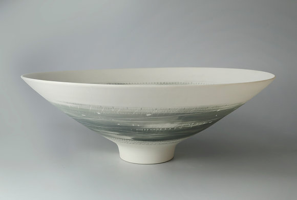 Large, footed bowl. Two greys