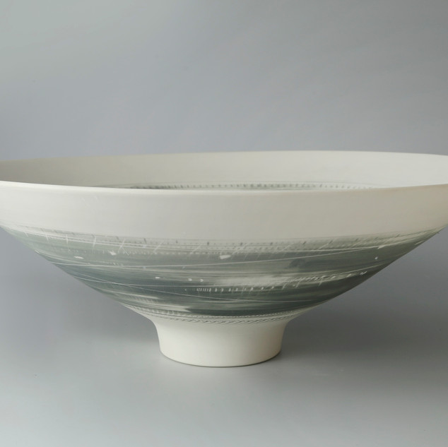 Large bowl. footed. Two greys