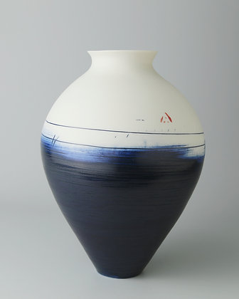 Narrow necked vase. Indigo