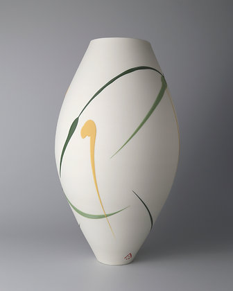 Oval vase. Green & yellow splash