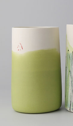 Tall cup. Yellowy green