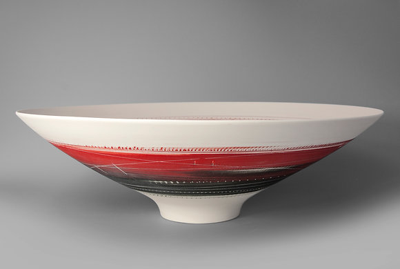 Large, footed bowl. Red & black