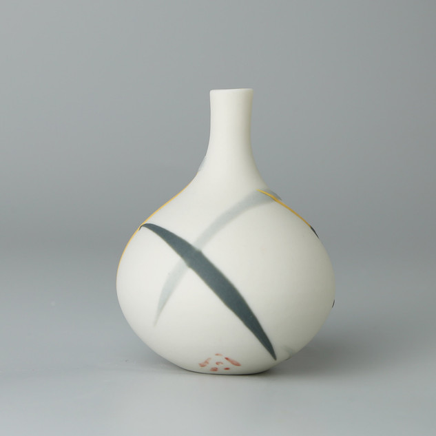 Teardrop bud vase. Yellow and grey splash.