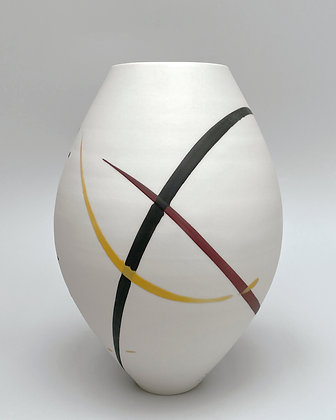 Oval vase. Burgundy & yellow splash