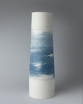 Tall cylinder vase. Two blues