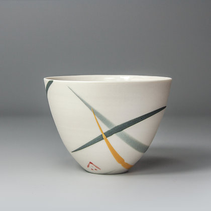 Small cup/bowl. Yellow & grey splash
