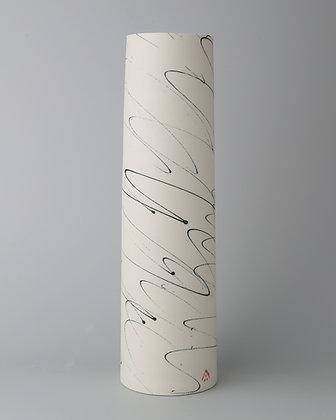 Tall cylinder vase. Black scribble