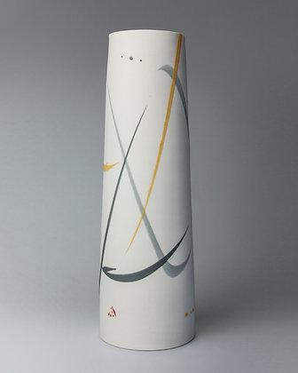 Tall cylinder vase. Yellow & grey splash