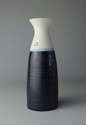 Fluted cylinder vase. Indigo