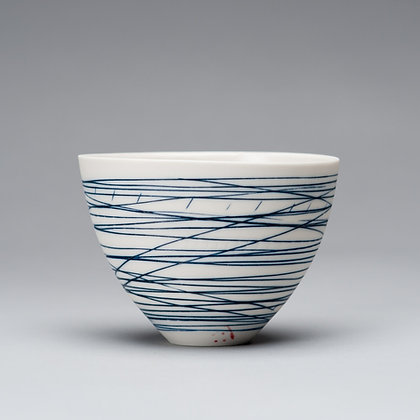 Small cup/bowl. Blue lines