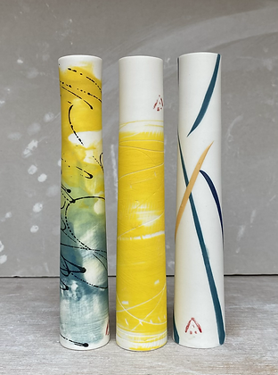 Stem vase. Teal & ochre splash (on right)