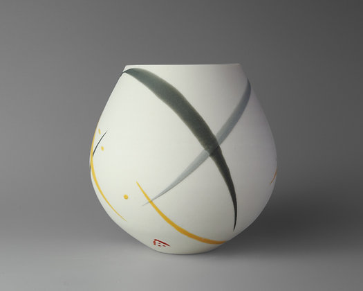 Small round pot. Yellow & grey splash