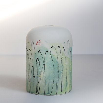 Small domed vase. Teal & lime monoprint