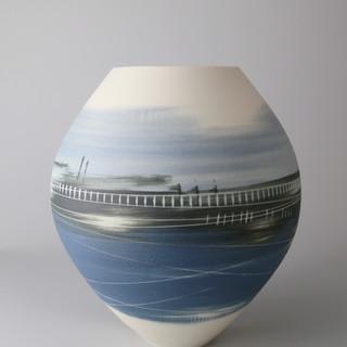 Spherical vase. Blues scene