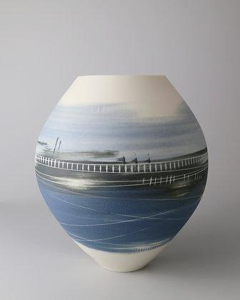 Spherical vase. Blue landscape