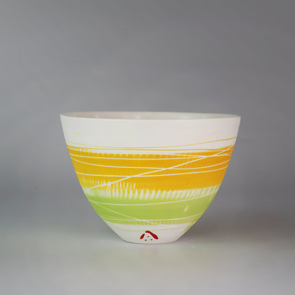 Small cup/bowl. Yellow & green