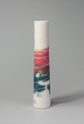 Stem vase. Pink & teal