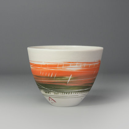 Small cup/bowl. Orange & green brushed