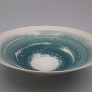 Large bowl. Two teals