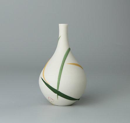 Small teardrop bud vase. Green & yellow splash