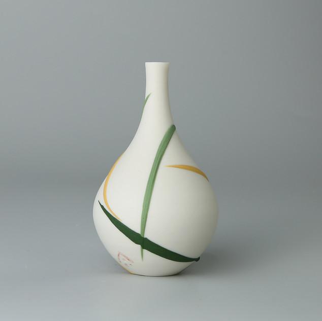 Teardrop bud vase. Yellow and green splash