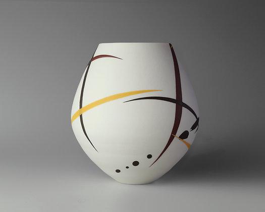 Small round pot. Burgundy & yellow splash