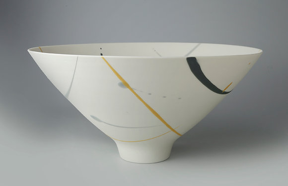Bowl. Footed. Yellow & grey splash