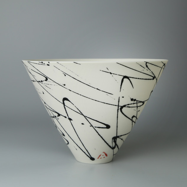 V bowl. Black squiggle